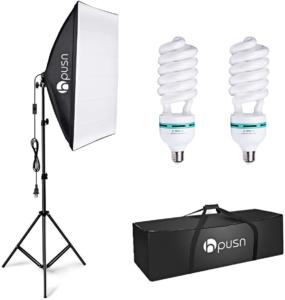 Soft box light and fluorescent bulbs for lighting for online class videotaping